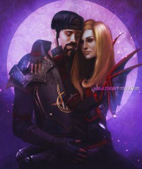 Фото Светловолосая девушка сидит на руках у мужчины и обнимает его / арт на игру World of Warcraft, by Sabalmirss