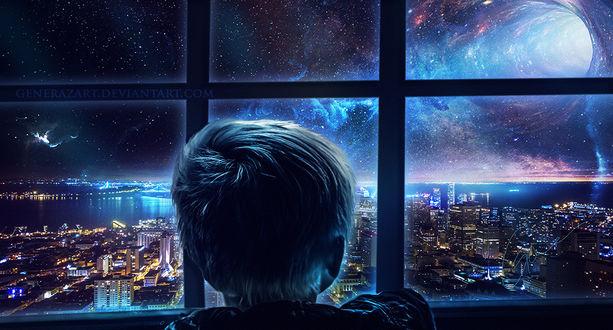 Фото Мальчик смотрит в окно на город под ночным небом, by Gene Raz von Edler