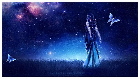 Фото Девушка в длинном платье стоит на фоне неба, by Gene Raz von Edler