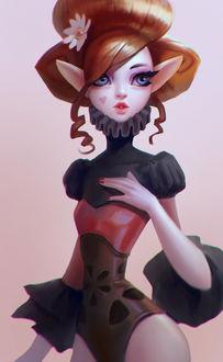 Фото Эльфийка с ромашкой в волосах и сердечком на щеке, by Lagunaya