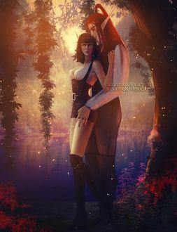 Фото Кровавые эльфы обнимаются / арт на игру World of Warcraft, by Sabalmirss
