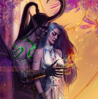 Фото Illidan Stormrage / Иллидан Ярость Бури и Tyrande Whisperwind / Тиранда Шелест Ветра - персонажи игры World of Warcraft, by Sabalmirss