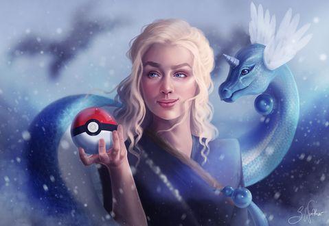 Фото Daenerys Targaryen / Дейнерис Таргариен из сериала Game Of Trones / Игра Престолов держит в руке покебол, by SandraWinther