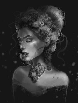 Фото Девушка с цветами на голове и шее, by SandraWinther