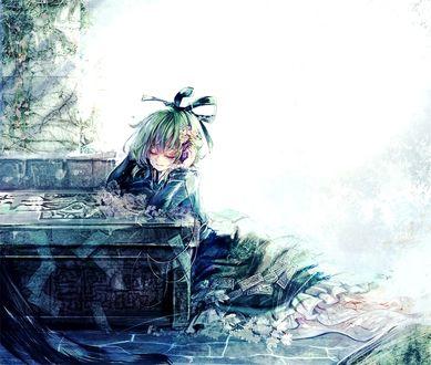 Фото Soga no Tojiko / Сога но Тодзико сидит с закрытыми глазами у чьей-то могилы из игры Touhou / Проект Восток, art by Cis
