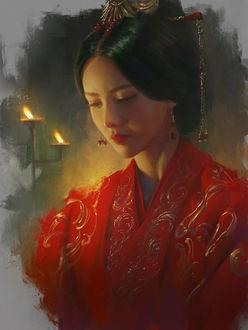Фото Девушка азиатской внешности с грустью опустила глаза, by Carter adair