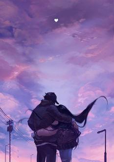 Фото Парень с девушкой на фоне облачного неба, by Naiichie