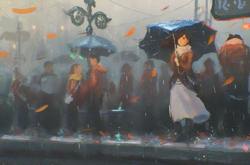 Фото Девушка и люди под дождем стоят у дороги, by Sylar113