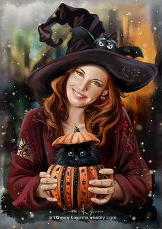 Фото Девушка в шляпе держит в руках тыкву в которой сидит черный котенок, by Kajenna