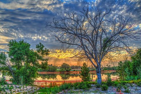 Фото Закат солнца у озера в Калифорнии, США
