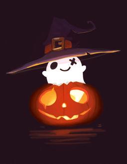 Фото Милый призрак в ведьминской шляпе внутри праздничной тыквы, by CrayonBot