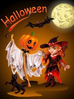 Фото Девушка танцует с праздничным пугалом (Halloween / Хэллоуин)