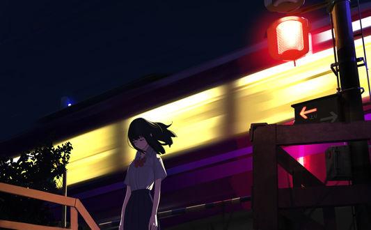 Фото Девушка стоит на фоне мчащегося поезда