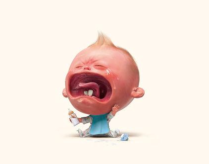 Фото Маленький мальчик с бутылкой молока горько плачет