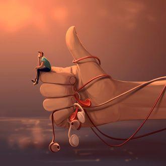 Фото На пальцах руки, держащей наушники, сидит парень, by Aquasixio - Cyril ROLANDO