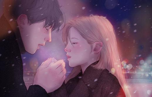 Фото Парень с девушкой стоят под снегопадом, художница Hyocheon Jeong