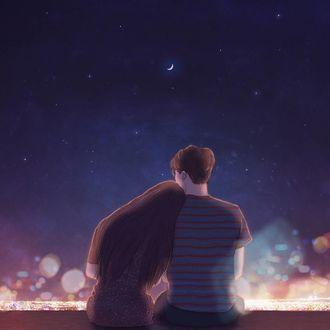 Фото Парень с девушкой сидят на фоне неба, художница Hyocheon Jeong