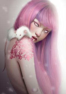Фото Девушка с розовыми волосами, с тату и морской свинкой на плече, by Marta G. Villena