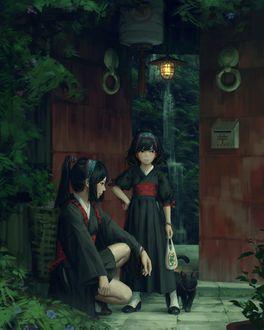 Фото Две девочки, одна из которых стоит рядом с черной кошкой, by GUWEIZ