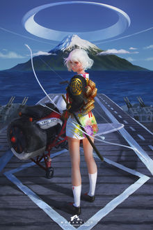 Фото Девушка с луком стоит перед самолетом, by webang111
