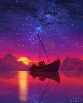 Фото Корабль в воде на фоне заходящего солнца и появляющихся звезд, by AngelGanev