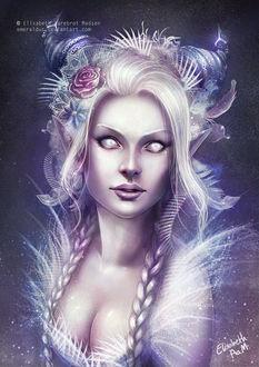 Фото Светловолосая Девушка-эльфийка с рожками и розой в волосах, by Emeraldus