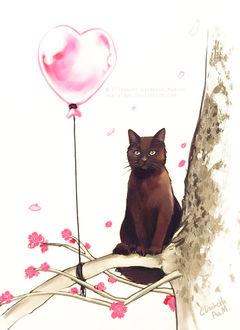 Фото Черный кот, сидящий на ветке дерева, на фоне розового воздушного шара в виде сердца, by Emeraldus