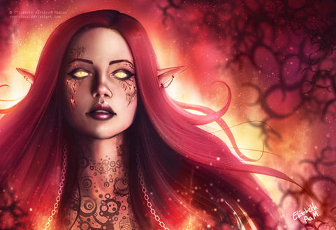 Фото Огненная девушка-эльфийка, by Emeraldus