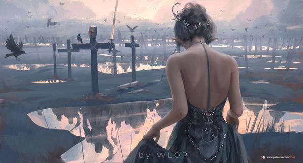 Фото Эльфийка стоит на фоне крестов, над которыми кружат вороны, а в воде отражаются падшие воины, by wlop