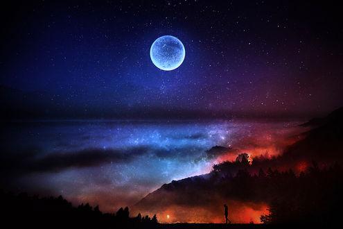 Фото Мужчина на вершине холма, которая за облаками, by BaxiaArt
