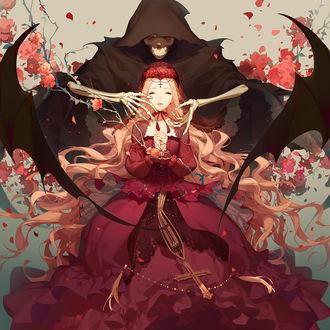 Фото Длинноволосая девушка в красном платье с черной Смертью за спиной, by Ask