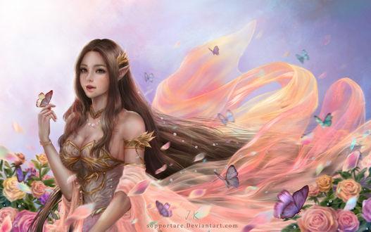 Фото Длинноволосая девушка-эльфийка среди бабочек и цветов, by Sopportare