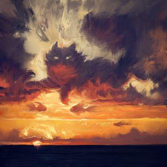 Фото Кошка в облаках на закате, by O-l-i-v-i