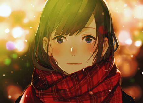 Фото Анимешная девушка в клетчатом шарфе под падающим снегом