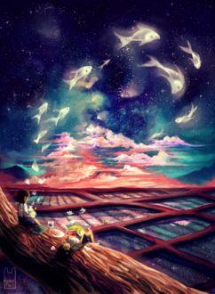 Фото Мечтающие дети на закате, их страниц книги выплывают на небо рыбки и они за ними наблюдают, by Guava-Pie