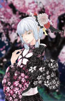 Фото Девушка с голубыми волосами в цветах