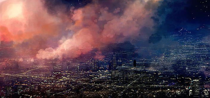 Фото Город под розовыми облаками