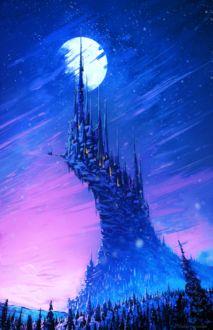 Фото Сказочный замок, уходящий в небо к луне, by AnatoFinnstark