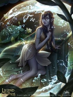 Фото Девушка - эльфийка на цветке с каплями росы, (Legend of the Cryptids / Легенда о Cryptids), by Zolaida