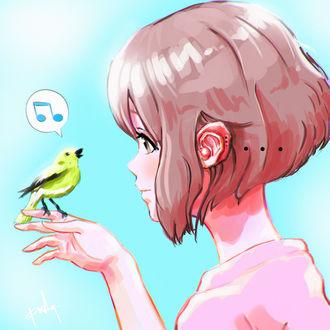 Фото Девушка с птицей на руке, by punksy
