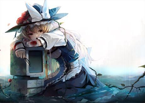 Фото Грустная Marisa Kirisame / Мариса Кирисаме сидит в воде, обнимая сломанный компьютер, из игры Проект Восток / Touhou Project, art by Eho
