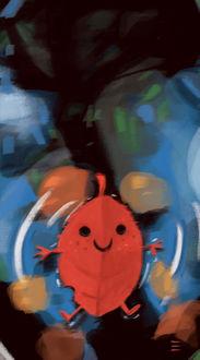 Фото Счастливый осенний листочек в воде, by CrayonBot