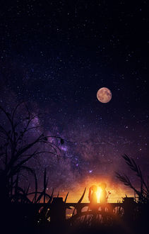 Фото Девочка и мальчик стоят на фоне яркого неба, работа -Первая любовь, by GeneRazART