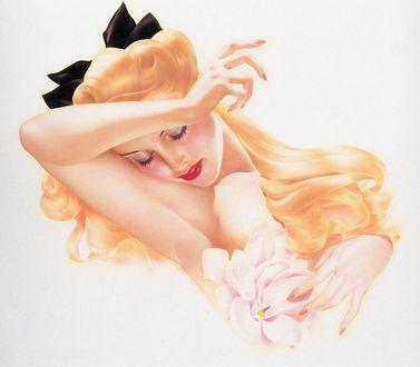 Фото Блондинка в стиле pin-up с закрытыми глазами, art by Alberto Vargas
