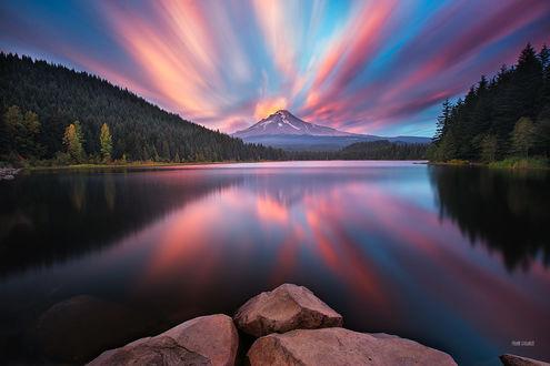 Фото Закат на озере Trillium Lake, Oregon, USA / Триллиум-Лейк, штат Орегон, США, фотограф Frank Delargy