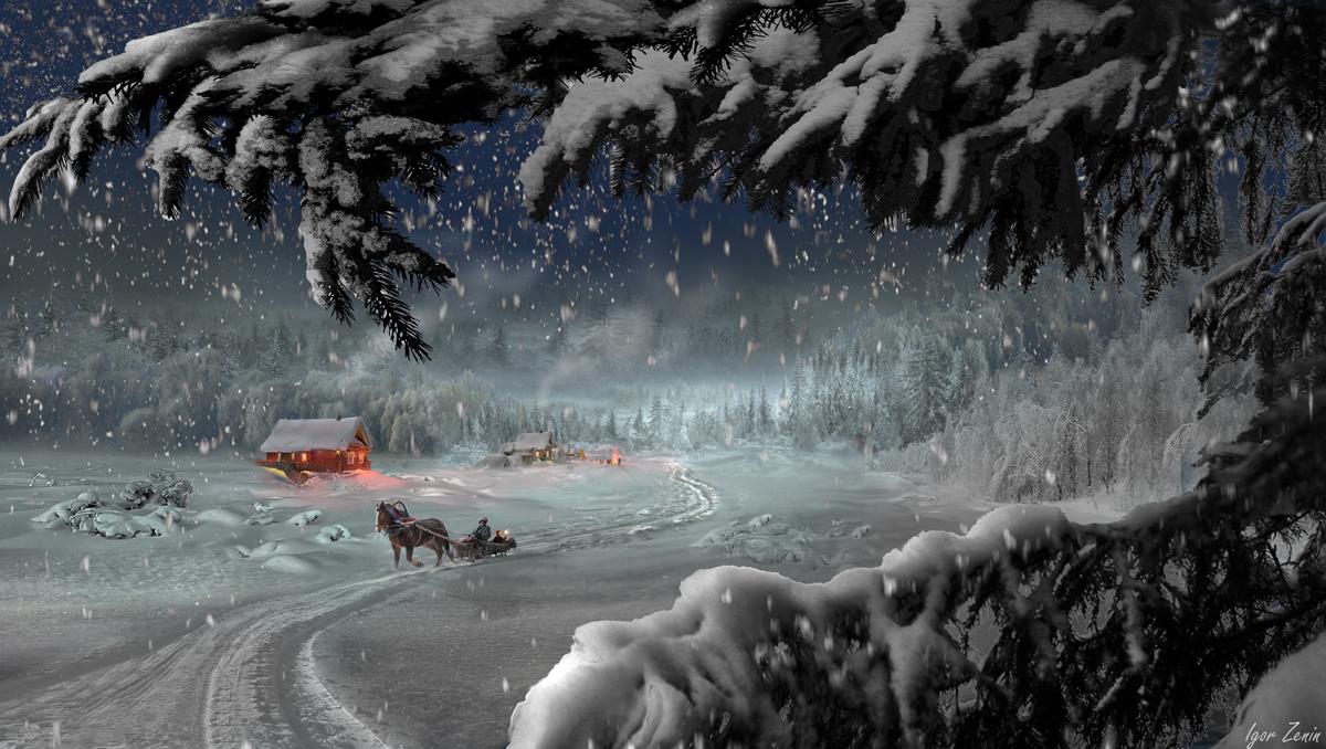Фото Рождество на хуторе, на переднем плане ветки ели в снегу, а по снежной дороге лошадь с санями, фотограф Igor Zenin