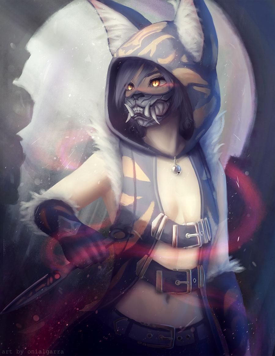 Фото Нэко-девушка с клыкастой маской на лице и янтарными глазами, держит кинжал в руке, by onialgarra