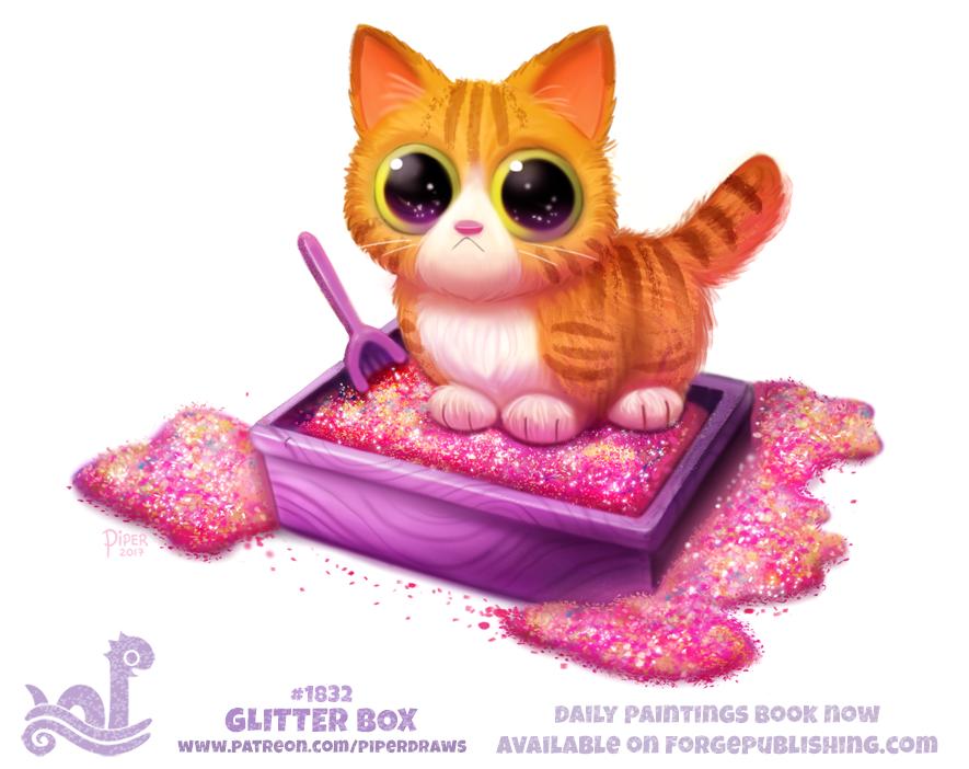 Фото Полосатый рыжий котенок стоит в лотке, наполненном блестками, by Cryptid-Creations