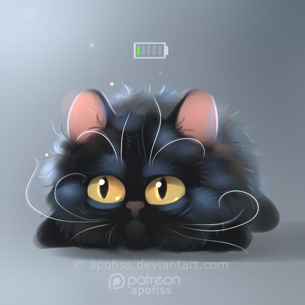 Фото Не выспавшийся черный котенок, над которым нарисована разряженная батарея, by Apofiss