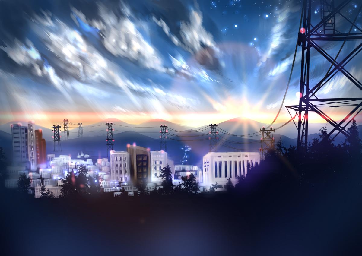 Фото Город и вышки линий электропередач под облачным небом